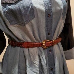 Tony Lama Vintage Equestrian Brown Leather Belt